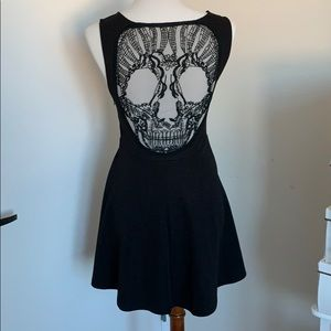 LF Skull Back Goth Mini Dress
